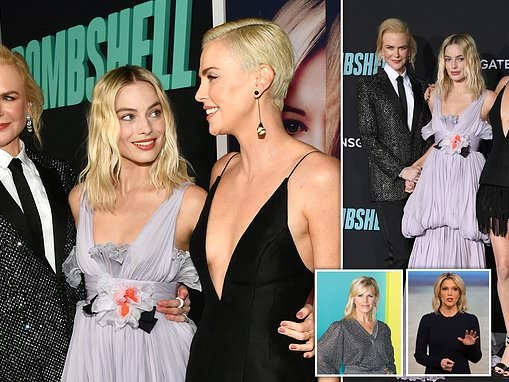 Charlize Theron wows as she attends the Bombshell premiere with Nicole Kidman and Margot Robbie