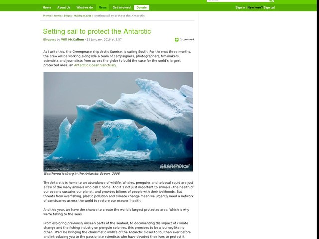 Setting sail to protect the Antarctic