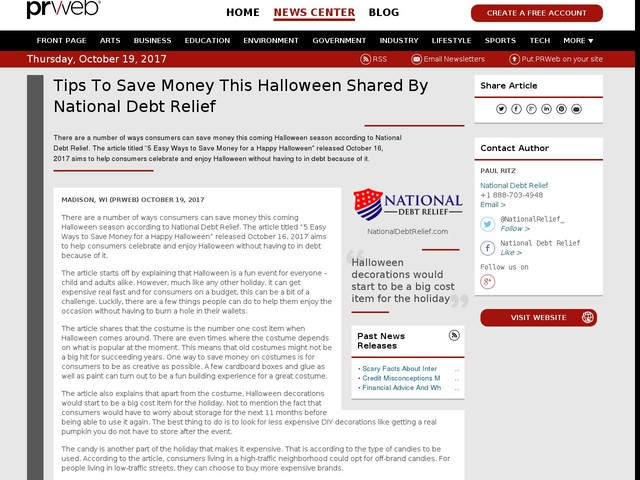 Tips To Save Money This Halloween Shared By National Debt Relief