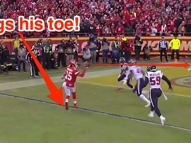 Patrick Mahomes threw a brilliant touchdown pass where he dragged his toe like a wide receiver to stay behind the line of scrimmage