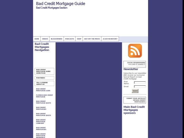 All About Bad Credit Mortgage