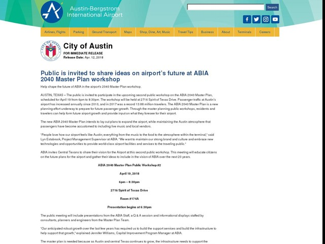 Public is invited to share ideas on airport's future at ABIA 2040 Master Plan workshop