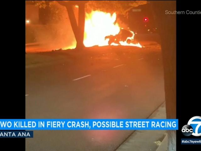 2 killed in fiery Santa Ana crash tied to street racing