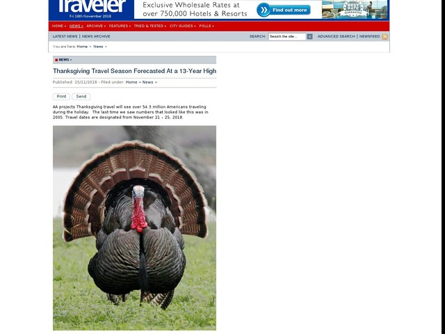 Thanksgiving Travel Season Forecasted At a 13-Year High