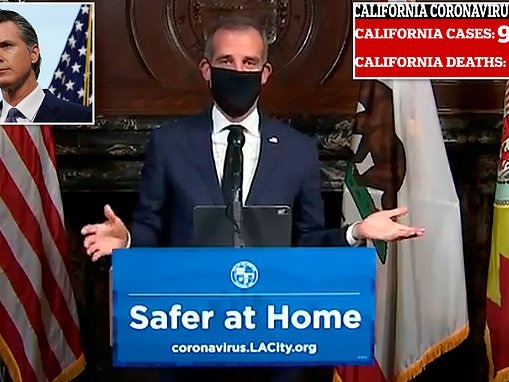 'This will be the new look': LA mayor tells all 4million residents that they MUST wear masks