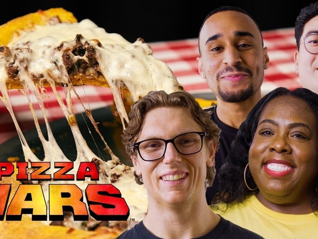 Mythical Chef Josh and Nicole Russell Make Taco Bell and Beef Patty Inspired Pizzas | Pizza Wars