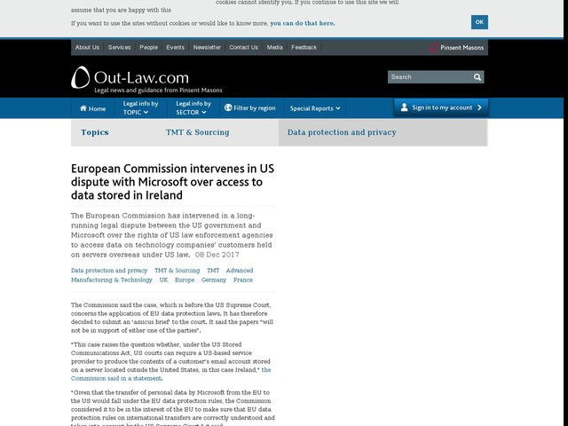 European Commission intervenes in US dispute with Microsoft over access to data stored in Ireland