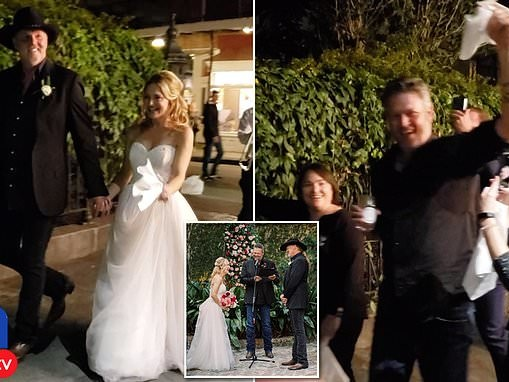 Trace Adkins and his bride parade streets of New Orleans as tipsy officiant Blake Shelton looks on