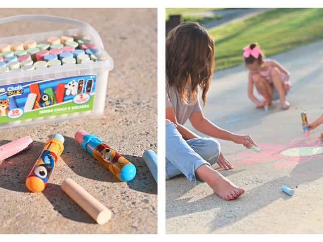 43% Off Sunny Days 50 Piece Sidewalk Chalk Bucket with Jumbo Holders {Amazon}
