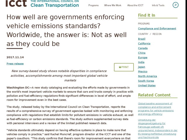 How well are governments enforcing vehicle emissions standards? Worldwide, the answer is: Not as well as they could be