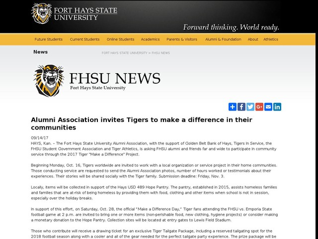 Alumni Association invites Tigers to make a difference in their communities