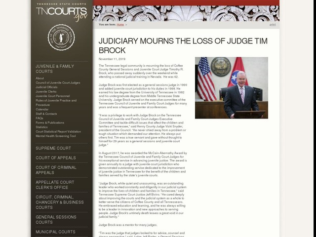 Judiciary Mourns the Loss of Judge Tim Brock