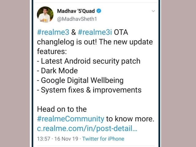 Realme India CEO Madhav Sheth Spotted Tweeting From an iPhone