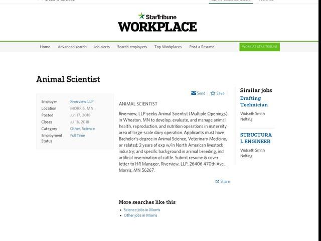 Riverview LLP: Animal Scientist