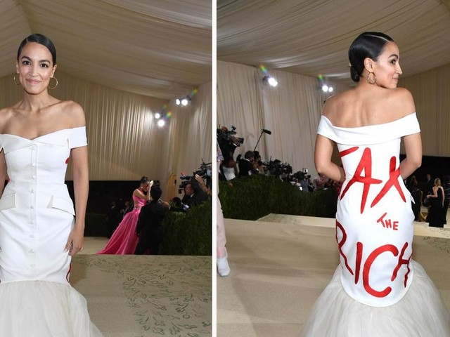 AOC wears 'tax the rich' dress — while attending star-studded $30K-per-person Met Gala