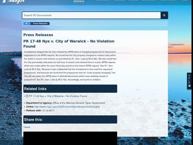 PR 17-48 Nye v. City of Warwick – No Violation Found