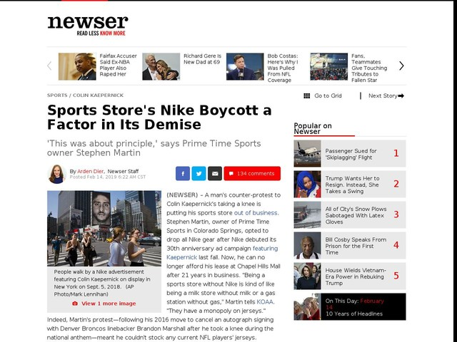 Sports Store's Nike Boycott a Factor in Its Demise