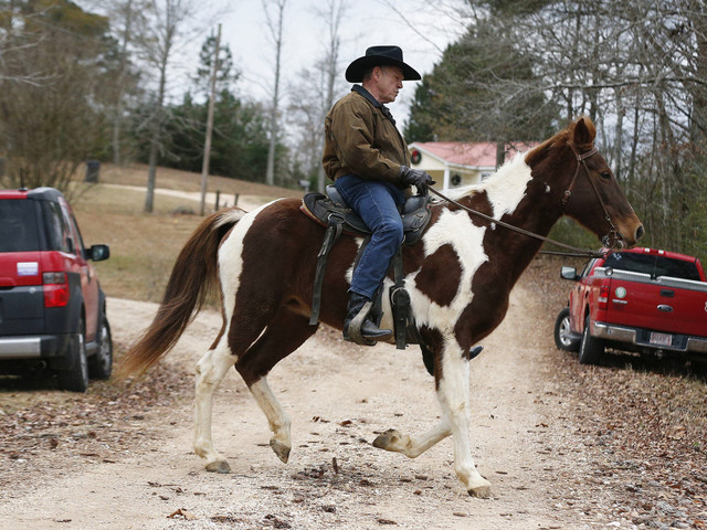 Roy Moore shows up to vote on horseback