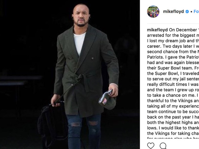 Michael Floyd thanks Vikings and Patriots for second chance after DUI in Instagram post