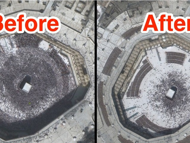 Before-and-after satellite images show how the coronavirus has emptied global landmarks, from Mecca's Grand Mosque to Tiananmen Square
