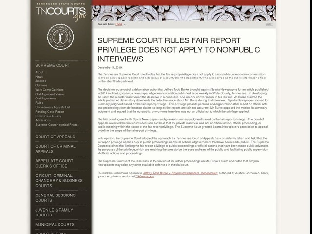 Supreme Court Rules Fair Report Privilege Does Not Apply To Nonpublic Interviews