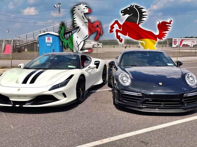 Can A Ferrari F8 Tributo Pin Down A 1000-HP Porsche 911 Turbo S On The Drag Strip?