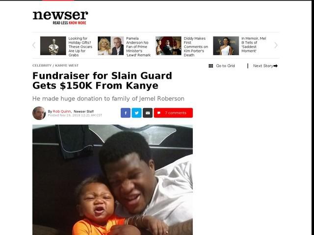 Fundraiser for Slain Guard Gets $150K From Kanye