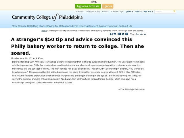 A stranger's $50 tip and advice convinced this Philly bakery worker to return to college. Then she soared.