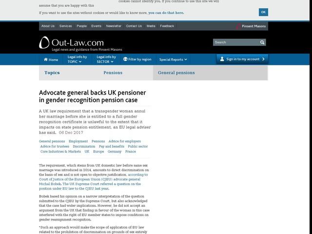 Advocate general backs UK pensioner in gender recognition pension case