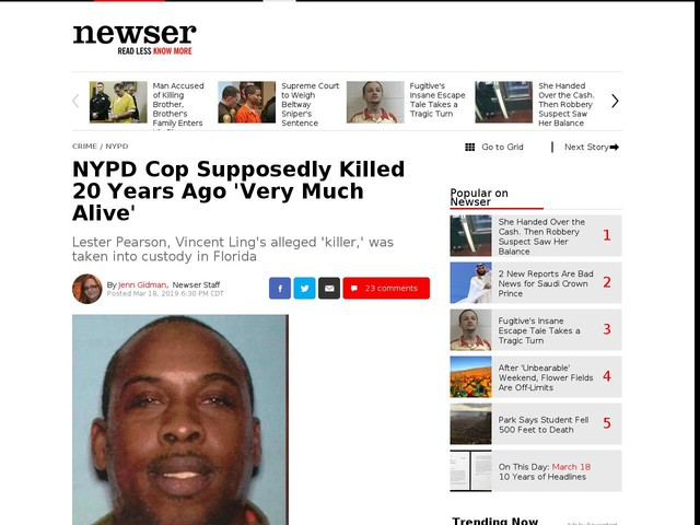 NYPD Cop Supposedly Killed 20 Years Ago 'Very Much Alive'