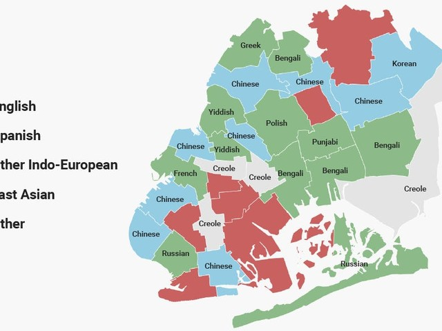 These maps show the most commonly spoken language in every NYC neighborhood, excluding English and Spanish