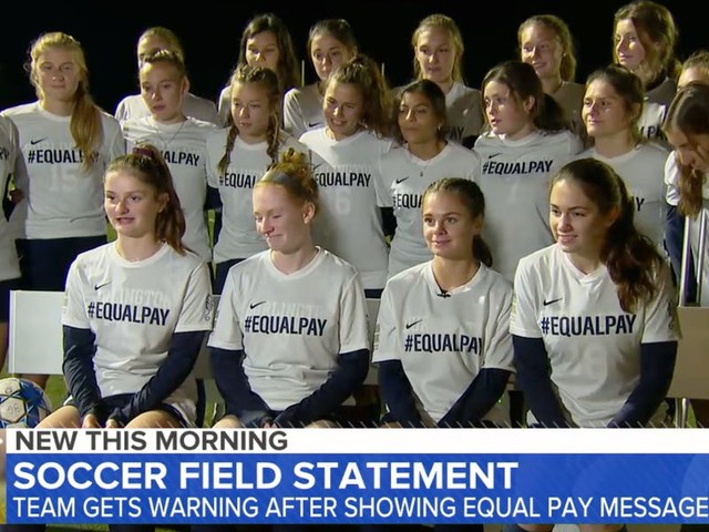 A high school girls soccer team was penalized for jerseys that said 'equal pay' during a game, but earned support for their message off the field