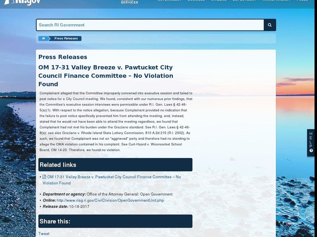 OM 17-31 Valley Breeze v. Pawtucket City Council Finance Committee – No Violation Found