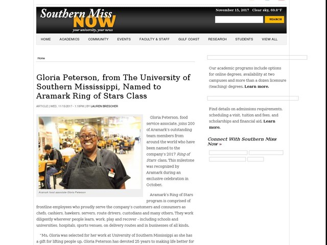 Gloria Peterson, from The University of Southern Mississippi, Named to Aramark Ring of Stars Class