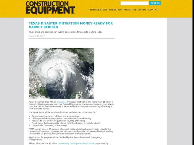 Texas Disaster Mitigation Money Ready for Harvey Rebuild