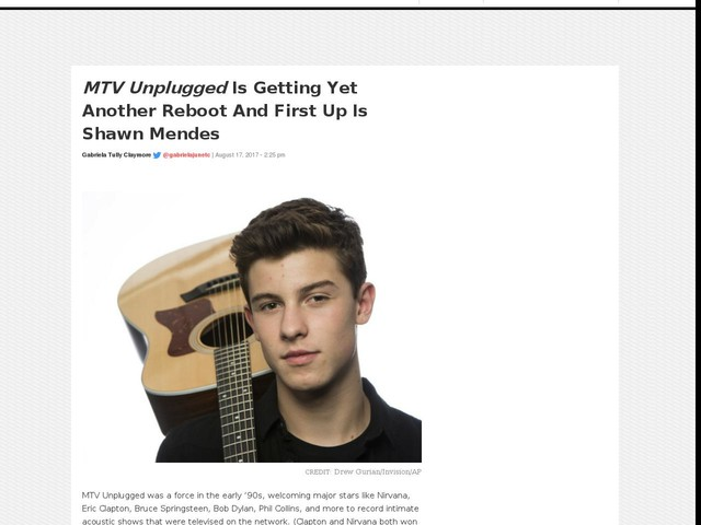 MTV Unplugged Is Getting Yet Another Reboot And First Up Is Shawn Mendes