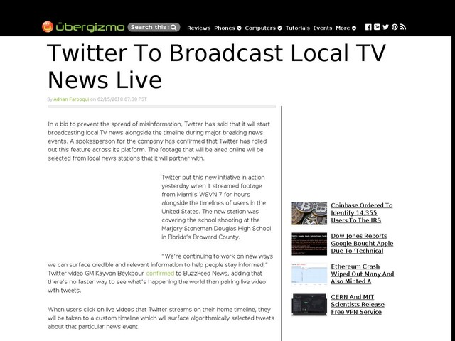 Twitter To Broadcast Local TV News Live