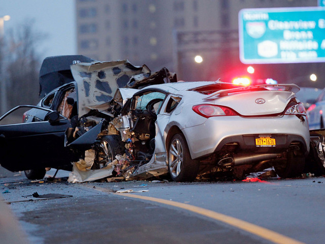 Three killed in horrific wrong-way crash in Queens