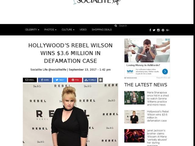 Hollywood's Rebel Wilson wins $3.6 million in defamation case