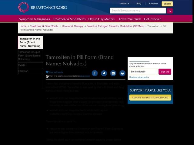 Tamoxifen in Pill Form (Brand Name: Nolvadex)