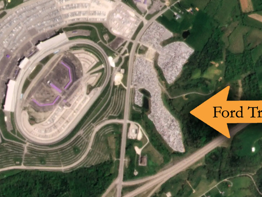 Satellite Imagery Captures Thousands Of Unfinished Ford Trucks Stashed AtKentucky Speedway
