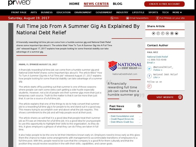 Full Time Job From A Summer Gig As Explained By National Debt Relief