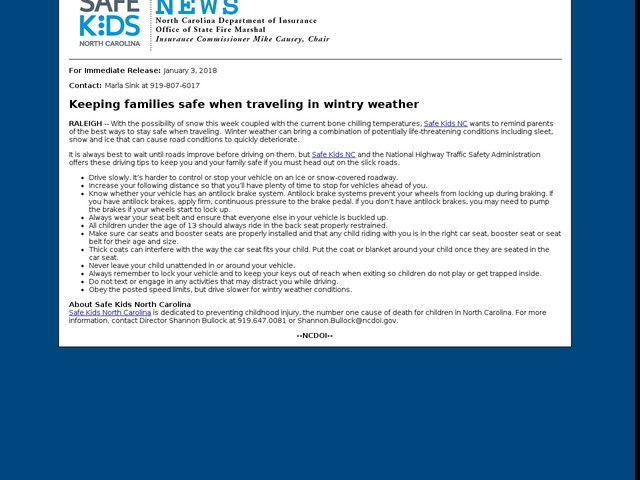January 3, 2018 -- Keeping families safe when traveling in wintry weather