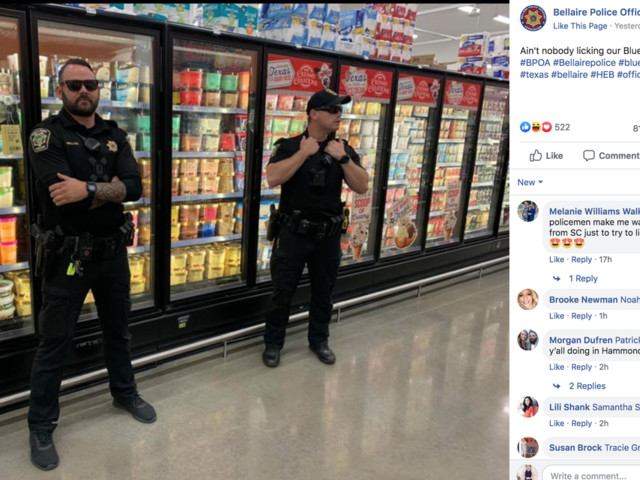 'Ain't nobody licking our Blue Bell!' Texas cops guard ice cream in wacky photo