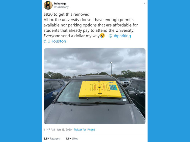 UH parking barnacle goes viral after student complains on social media