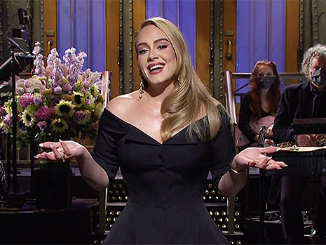 Adele Looks Super Glam On 'SNL' With Long Blonde Waved Hair After 100 Lb. Weight Loss