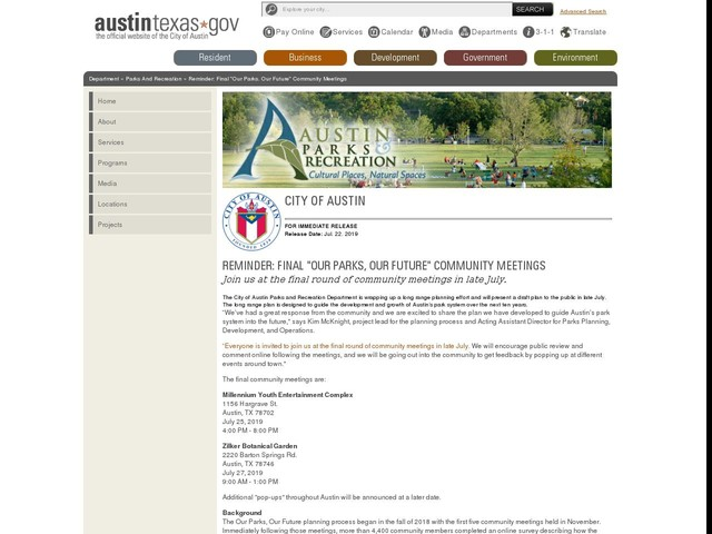 """Reminder: Final """"Our Parks, Our Future"""" Community Meetings"""