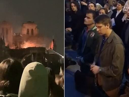 People on video honoring Notre Dame Cathedral singing 'Ave Maria' kneeling on the streets of Paris