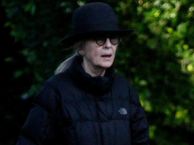 Diane Keaton Takes Her Dog for Afternoon Walk