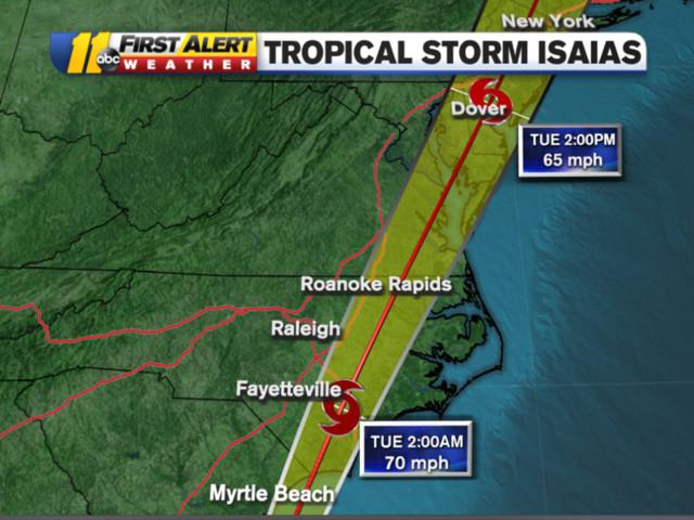 Carolinas brace for storm surge, floods as Tropical Storm Isaias nears